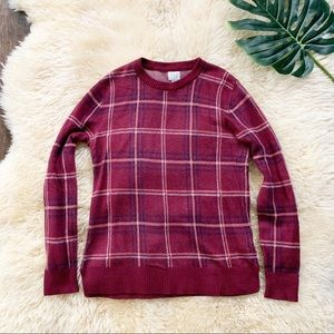 A New Day | Dark Red Plaid Crewneck Sweater